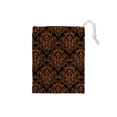 Damask1 Black Marble & Rusted Metal (r) Drawstring Pouches (small)