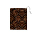 DAMASK1 BLACK MARBLE & RUSTED METAL (R) Drawstring Pouches (Small)  Front