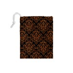 DAMASK1 BLACK MARBLE & RUSTED METAL (R) Drawstring Pouches (Small)  Back