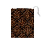 DAMASK1 BLACK MARBLE & RUSTED METAL (R) Drawstring Pouches (Medium)  Front