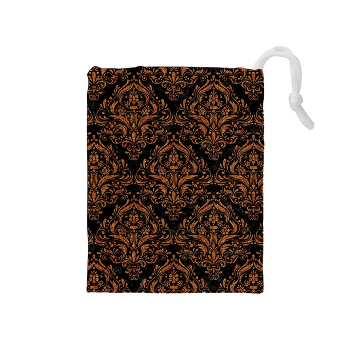 DAMASK1 BLACK MARBLE & RUSTED METAL (R) Drawstring Pouches (Medium)