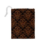DAMASK1 BLACK MARBLE & RUSTED METAL (R) Drawstring Pouches (Medium)  Back