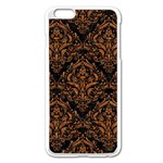 DAMASK1 BLACK MARBLE & RUSTED METAL (R) Apple iPhone 6 Plus/6S Plus Enamel White Case Front