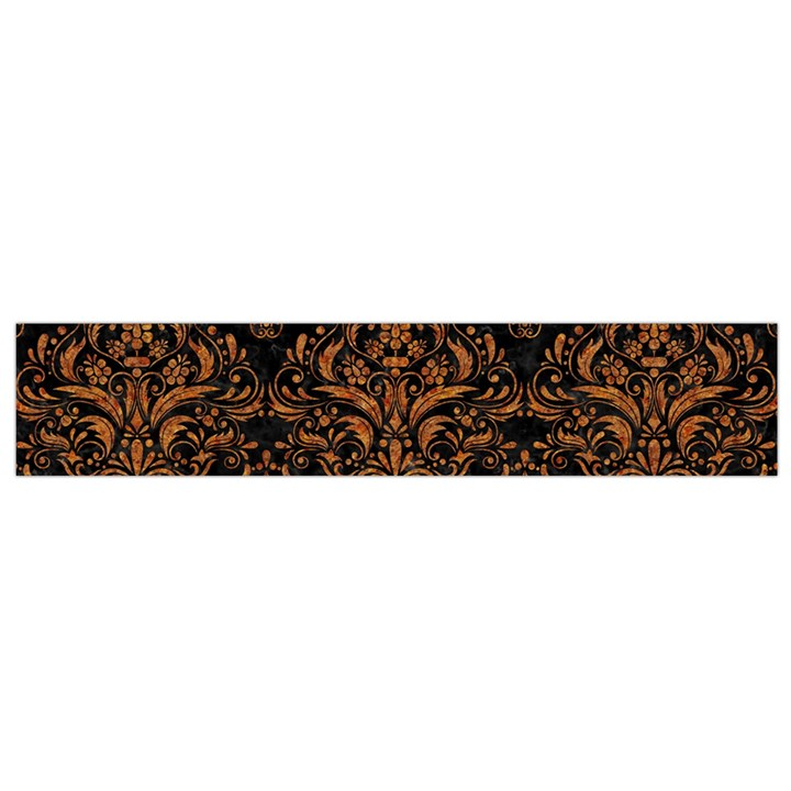 DAMASK1 BLACK MARBLE & RUSTED METAL (R) Flano Scarf (Small)
