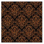 DAMASK1 BLACK MARBLE & RUSTED METAL (R) Large Satin Scarf (Square) Front