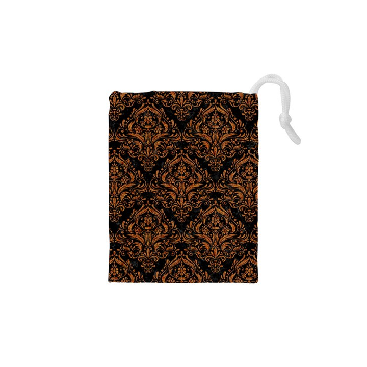 DAMASK1 BLACK MARBLE & RUSTED METAL (R) Drawstring Pouches (XS)