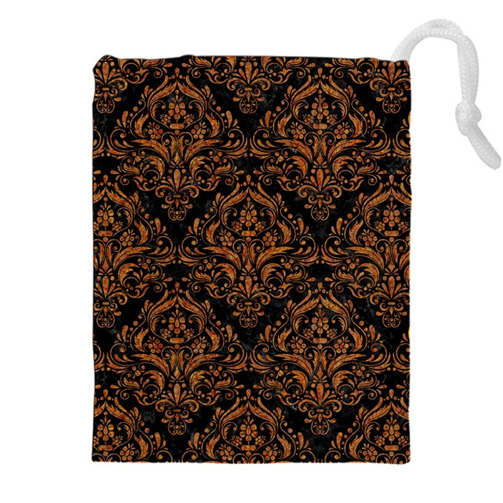 DAMASK1 BLACK MARBLE & RUSTED METAL (R) Drawstring Pouches (XXL)