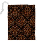 DAMASK1 BLACK MARBLE & RUSTED METAL (R) Drawstring Pouches (XXL) Back