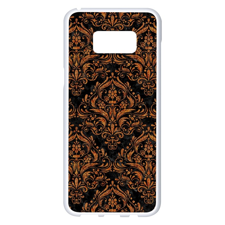 DAMASK1 BLACK MARBLE & RUSTED METAL (R) Samsung Galaxy S8 Plus White Seamless Case