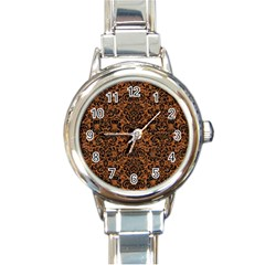 Damask2 Black Marble & Rusted Metal Round Italian Charm Watch