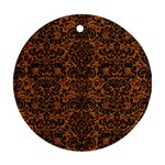 DAMASK2 BLACK MARBLE & RUSTED METAL Ornament (Round) Front