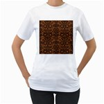 DAMASK2 BLACK MARBLE & RUSTED METAL Women s T-Shirt (White) (Two Sided) Front