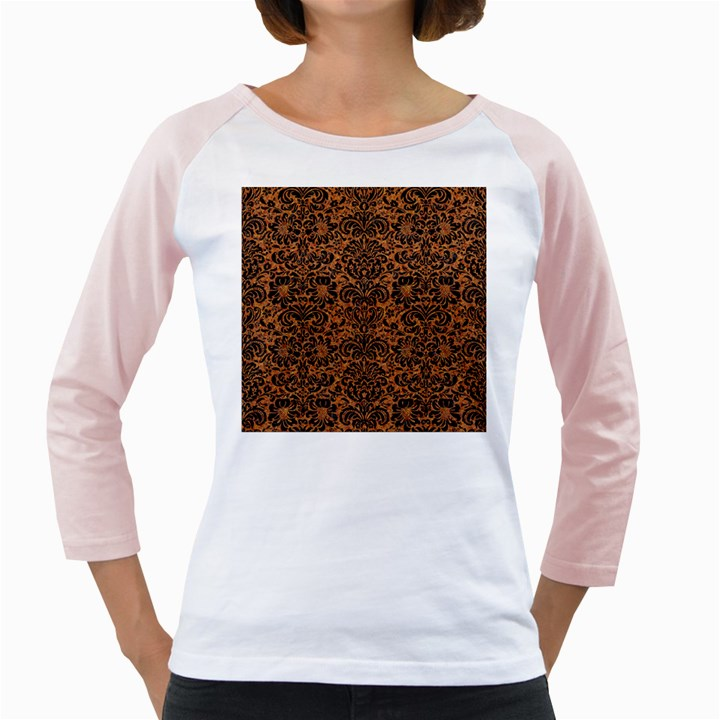 DAMASK2 BLACK MARBLE & RUSTED METAL Girly Raglans