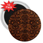 DAMASK2 BLACK MARBLE & RUSTED METAL 3  Magnets (10 pack)  Front