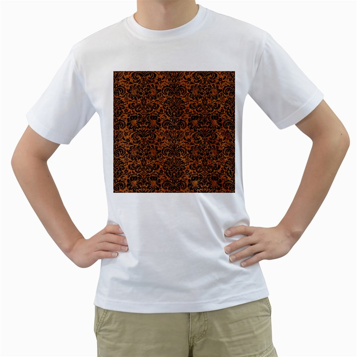 DAMASK2 BLACK MARBLE & RUSTED METAL Men s T-Shirt (White) (Two Sided)