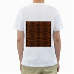 DAMASK2 BLACK MARBLE & RUSTED METAL Men s T-Shirt (White) (Two Sided) Back