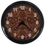 DAMASK2 BLACK MARBLE & RUSTED METAL Wall Clocks (Black) Front