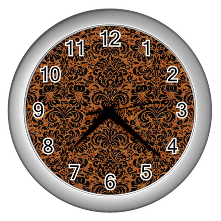 DAMASK2 BLACK MARBLE & RUSTED METAL Wall Clocks (Silver)