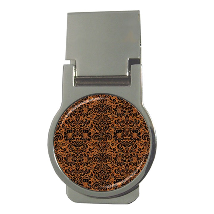 DAMASK2 BLACK MARBLE & RUSTED METAL Money Clips (Round)