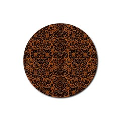 Damask2 Black Marble & Rusted Metal Rubber Coaster (round)