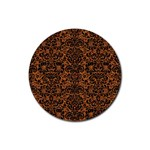 DAMASK2 BLACK MARBLE & RUSTED METAL Rubber Coaster (Round)  Front