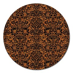 Damask2 Black Marble & Rusted Metal Magnet 5  (round)