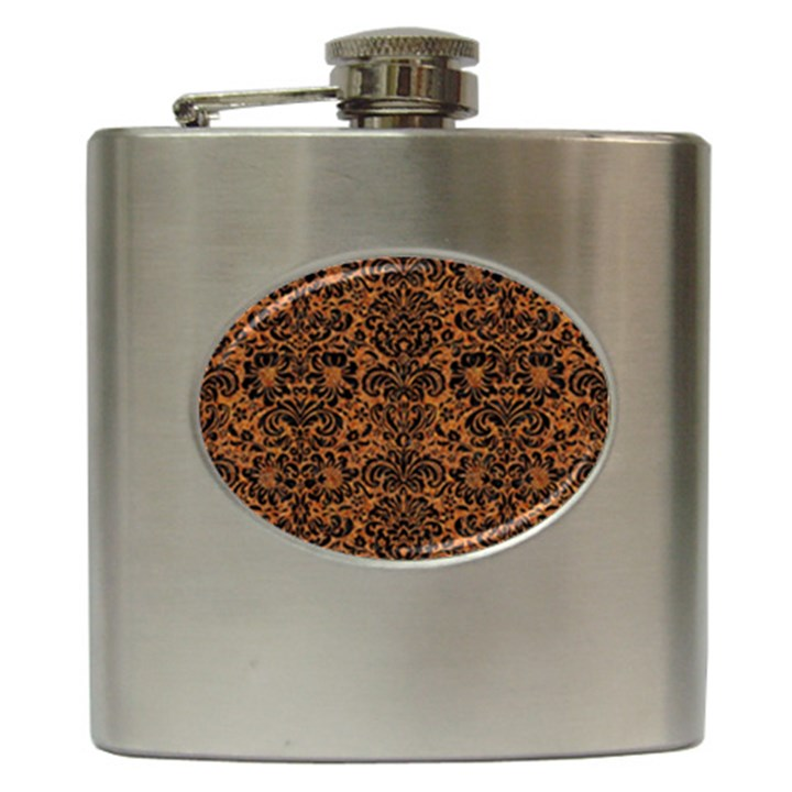 DAMASK2 BLACK MARBLE & RUSTED METAL Hip Flask (6 oz)