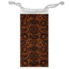Damask2 Black Marble & Rusted Metal Jewelry Bag