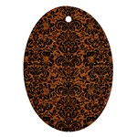 DAMASK2 BLACK MARBLE & RUSTED METAL Oval Ornament (Two Sides) Front