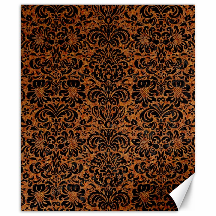 DAMASK2 BLACK MARBLE & RUSTED METAL Canvas 8  x 10