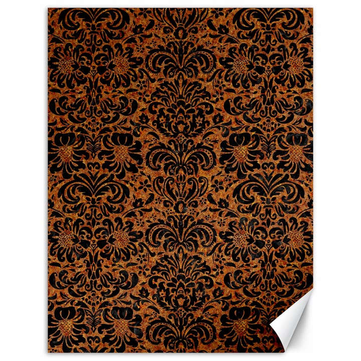 DAMASK2 BLACK MARBLE & RUSTED METAL Canvas 12  x 16