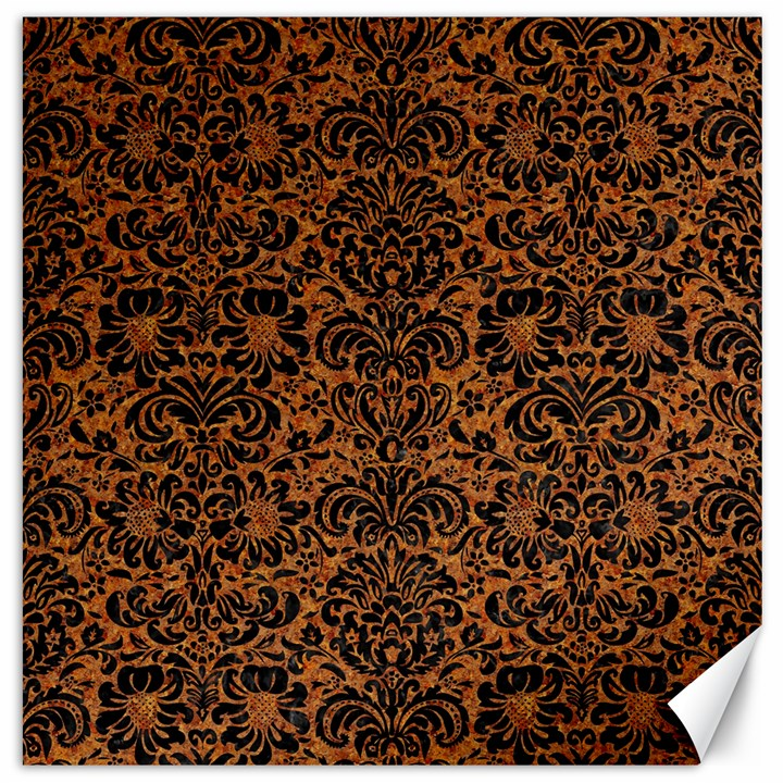 DAMASK2 BLACK MARBLE & RUSTED METAL Canvas 16  x 16