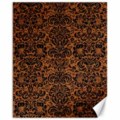 Damask2 Black Marble & Rusted Metal Canvas 16  X 20