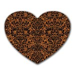 DAMASK2 BLACK MARBLE & RUSTED METAL Heart Mousepads Front