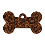 DAMASK2 BLACK MARBLE & RUSTED METAL Dog Tag Bone (One Side) Front