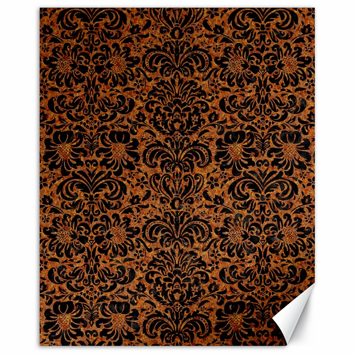 DAMASK2 BLACK MARBLE & RUSTED METAL Canvas 11  x 14