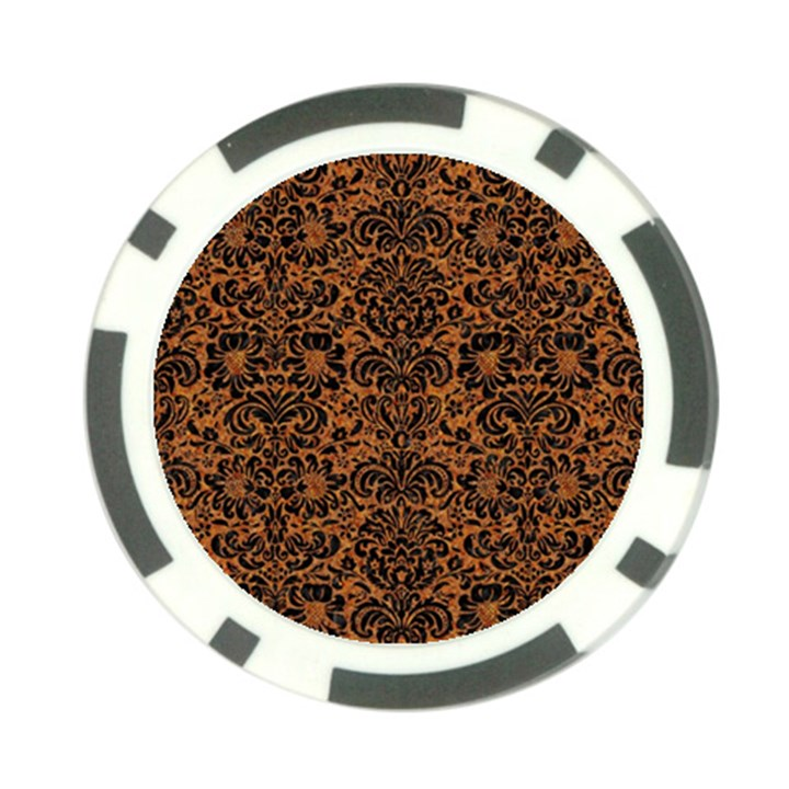 DAMASK2 BLACK MARBLE & RUSTED METAL Poker Chip Card Guard