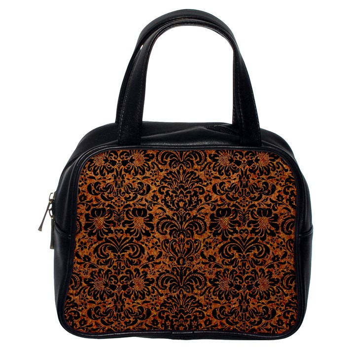 DAMASK2 BLACK MARBLE & RUSTED METAL Classic Handbags (One Side)