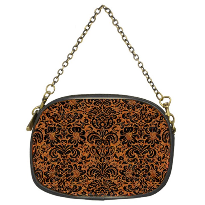 DAMASK2 BLACK MARBLE & RUSTED METAL Chain Purses (Two Sides)