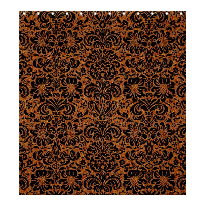 DAMASK2 BLACK MARBLE & RUSTED METAL Shower Curtain 66  x 72  (Large)