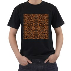 Damask2 Black Marble & Rusted Metal Men s T Shirt (black)