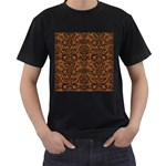 DAMASK2 BLACK MARBLE & RUSTED METAL Men s T-Shirt (Black) Front