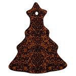 DAMASK2 BLACK MARBLE & RUSTED METAL Ornament (Christmas Tree)  Front
