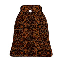 Damask2 Black Marble & Rusted Metal Ornament (bell)