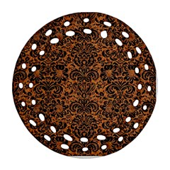 Damask2 Black Marble & Rusted Metal Round Filigree Ornament (two Sides)