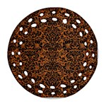 DAMASK2 BLACK MARBLE & RUSTED METAL Round Filigree Ornament (Two Sides) Back