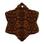 DAMASK2 BLACK MARBLE & RUSTED METAL Snowflake Ornament (Two Sides) Back