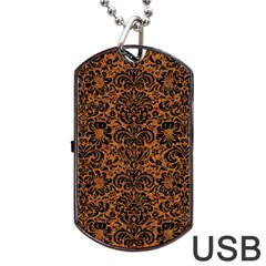 Damask2 Black Marble & Rusted Metal Dog Tag Usb Flash (two Sides)