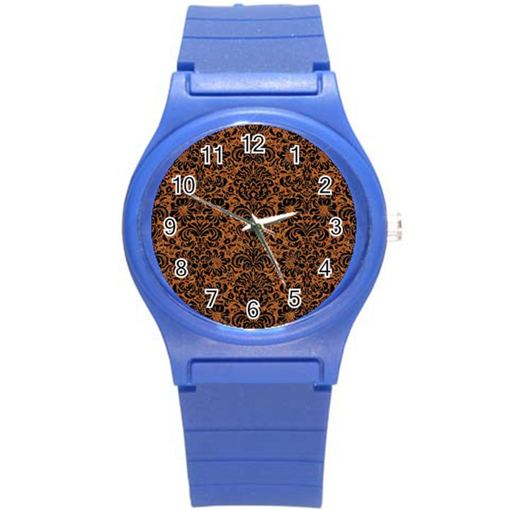 DAMASK2 BLACK MARBLE & RUSTED METAL Round Plastic Sport Watch (S)