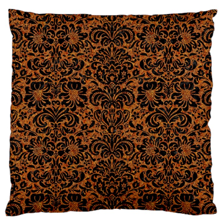 DAMASK2 BLACK MARBLE & RUSTED METAL Large Cushion Case (Two Sides)